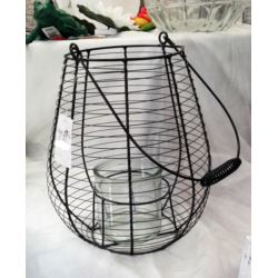 Lampion druciany czarny 26x26 cm