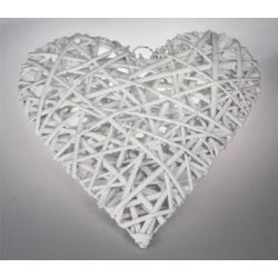 Serce białe ratan 29cm