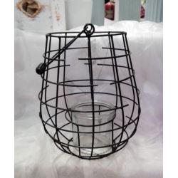 Lampion druciany czarny 27x25 cm