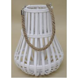 Świecznik biały drewno 33x26cm