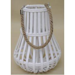 Świecznik biały drewno 38x30