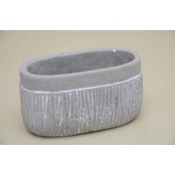 Doniczka osłonka szaro - biała 11x19cm betonowa