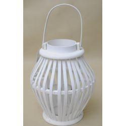 Lampion drewniany biały 29x21