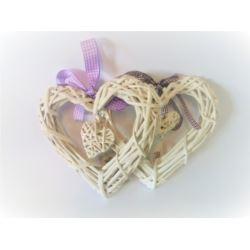 Serce wiklina białe 25cm